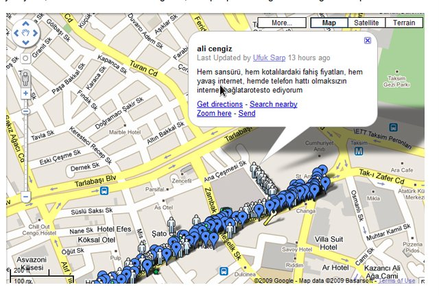Live mapping of a protest