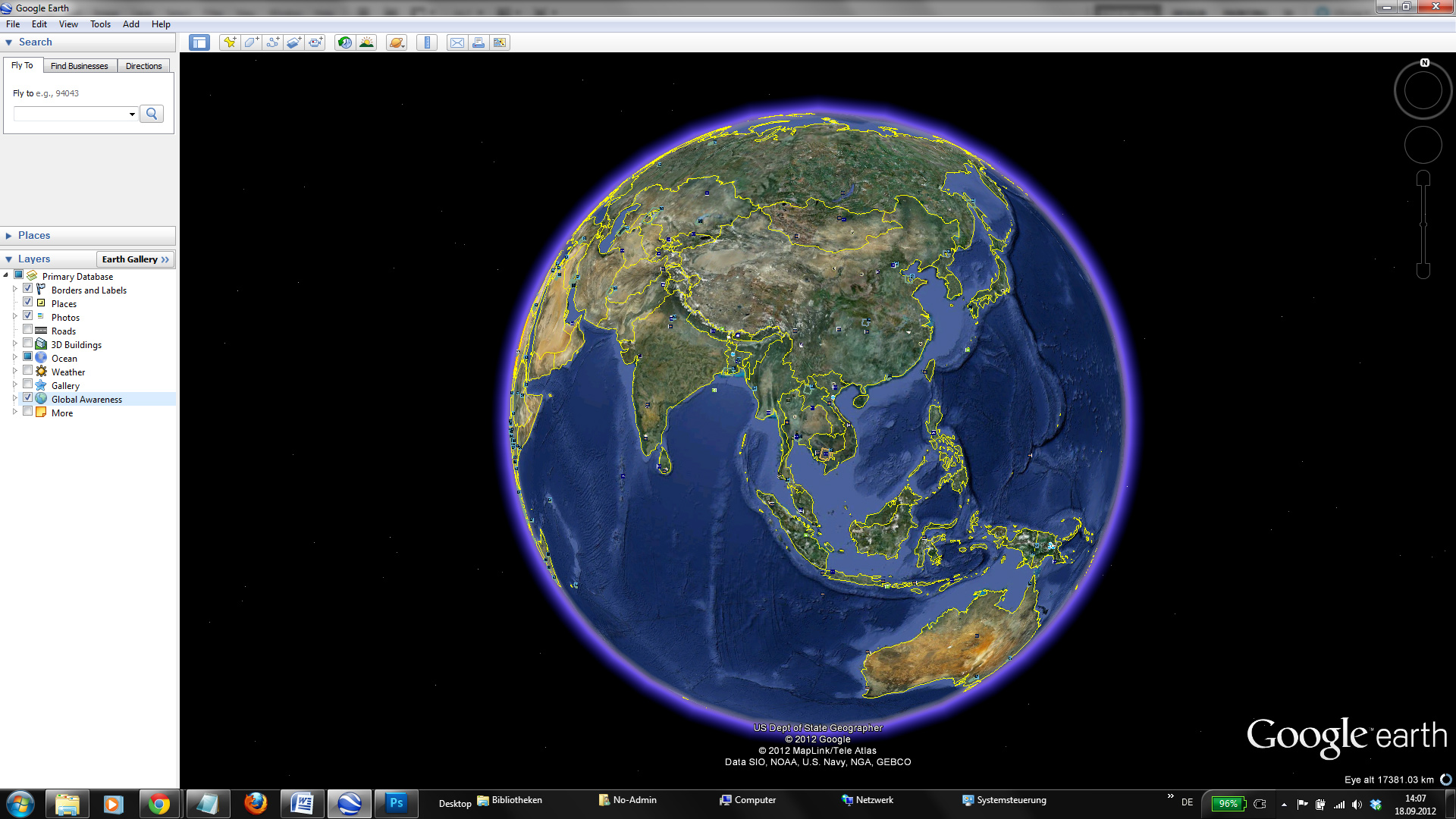The three-dimensional globe is the the centre-piece of Google Earth