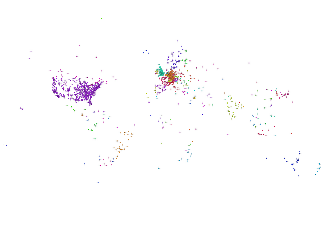 Hermann Schmidt used Gephi Geo Layouter to map his twitter friends