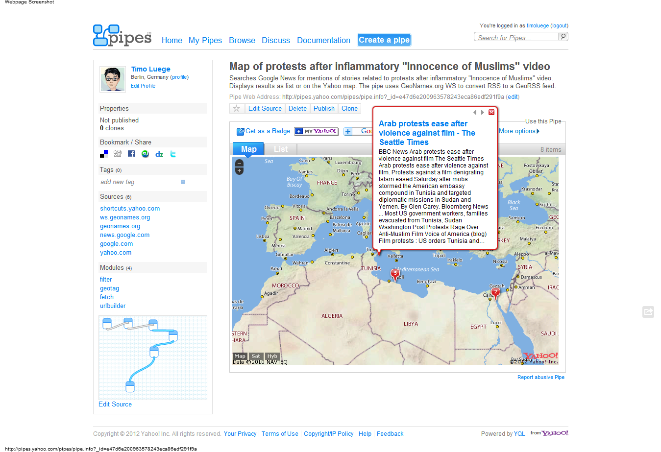 This Pipe maps news related to protests in the Arab world.