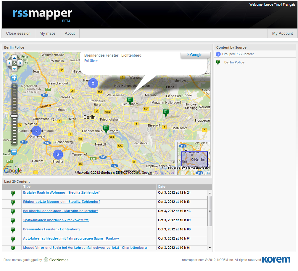 Your maps will be more exact if the locations in the RSS feeds are specific.
