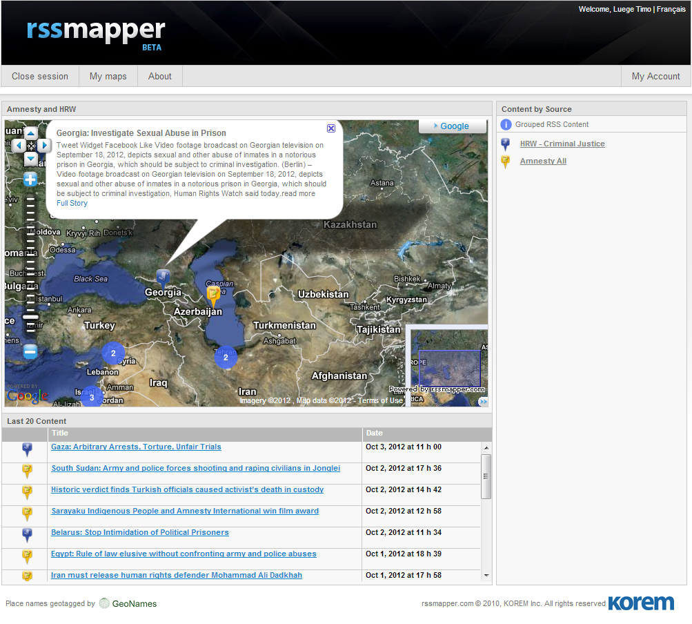 Rssmapper puts information from RSS feeds on a Google Map that you can embed in your own website or blog.