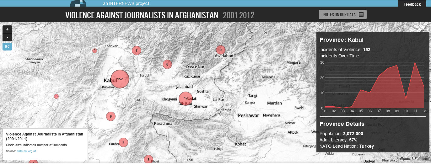 Internews produceed this map showing violence against journalists in Afghanistan